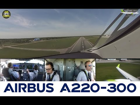 CS300 of Air Baltic: Perfect Weather for a perfect takeoff, Cockpit Multicam! [AirClips]