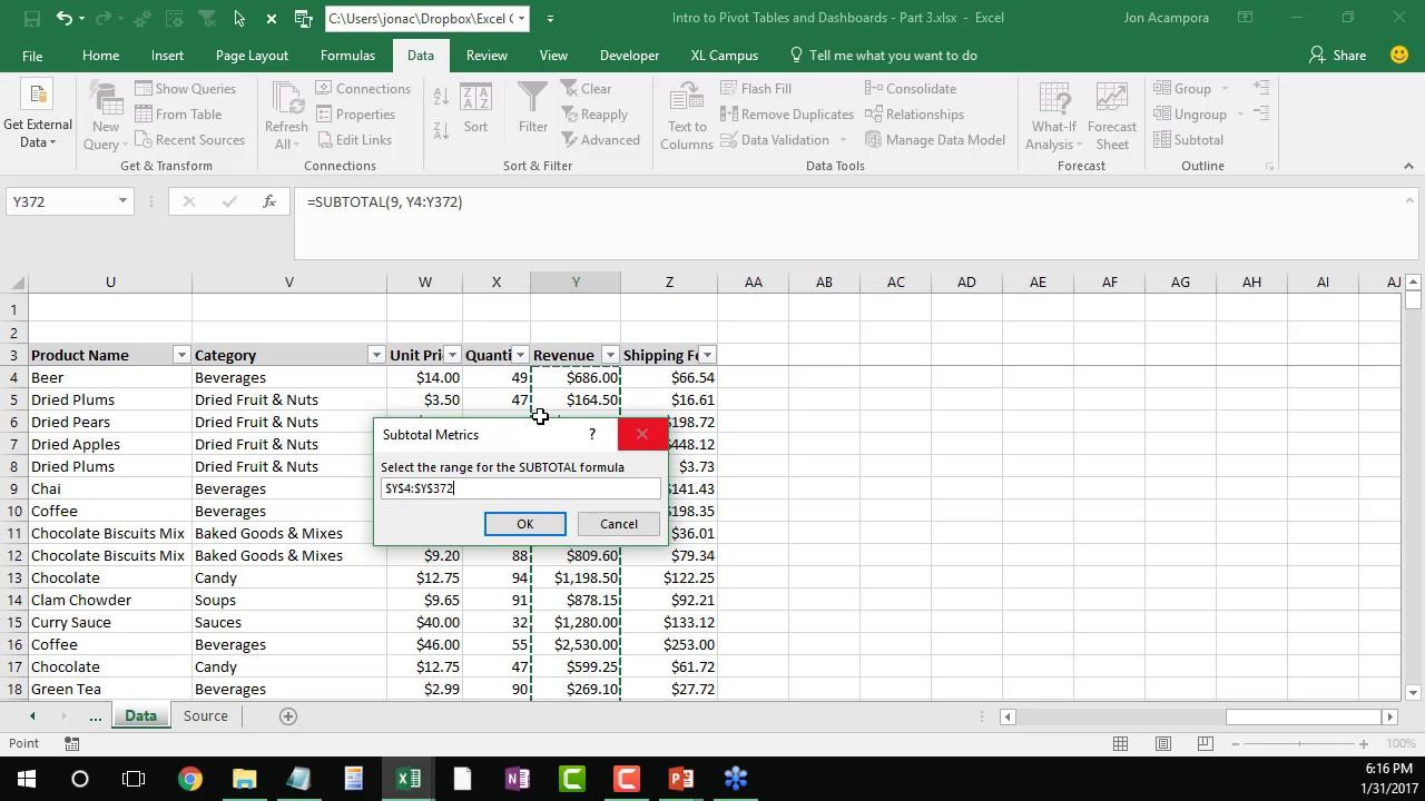 The SUBTOTAL Metrics Macro   Create Summary Table of All Function ...