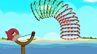Angry Birds Slingshot Fun 2 - SHOOTING GAME! SHOOT TERENCE THROUGH ALL RINGS ALL LEVELS!