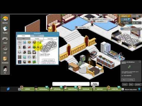 Habbo contruindo uma casa youtube for Casa moderna habbo