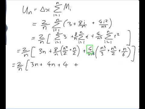EXAMPLE: Finding an integral using upper and lower sums in terms of n