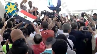 بالفيديو: وصول  اللاعب إيهاب عبد الرحمن   صاحب فضية رمي الرمح ببطوله العالم إلي مطار القاهرة