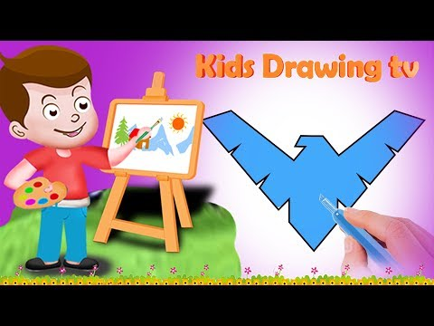 Drawing Nightwing Logo Paint And Colouring For Kids | Kids Drawing TV | DC Comics Superhero