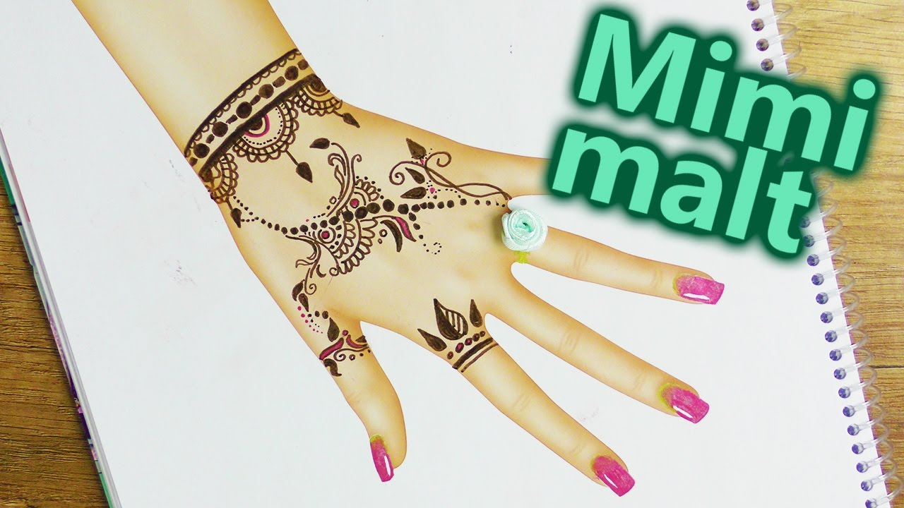 henna tattoo malen im topmodel malbuch sch ne t towierung rosen ring und nail art diy kids. Black Bedroom Furniture Sets. Home Design Ideas