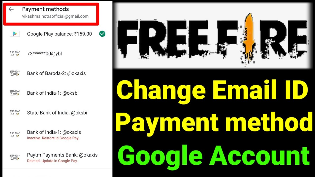 Free Fire Payment Method Email Id Kaise Change Kare How To Change Free Fire Payment Method Gmail Id Youtube