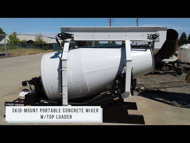 Cart-Away, Skid-Mount Portable Concrete Mixer W/ Top Loader