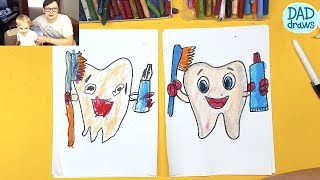 How to draw a Tooth, Toothpaste, Toothbrush