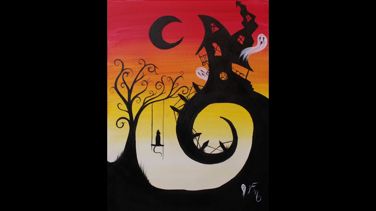 House on Haunted Hill Step by Step Acrylic Painting on