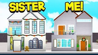 SISTER Vs BROTHER BLOXBURG HOUSE BUILD OFF!! *3 CHALLENGES* (Roblox)