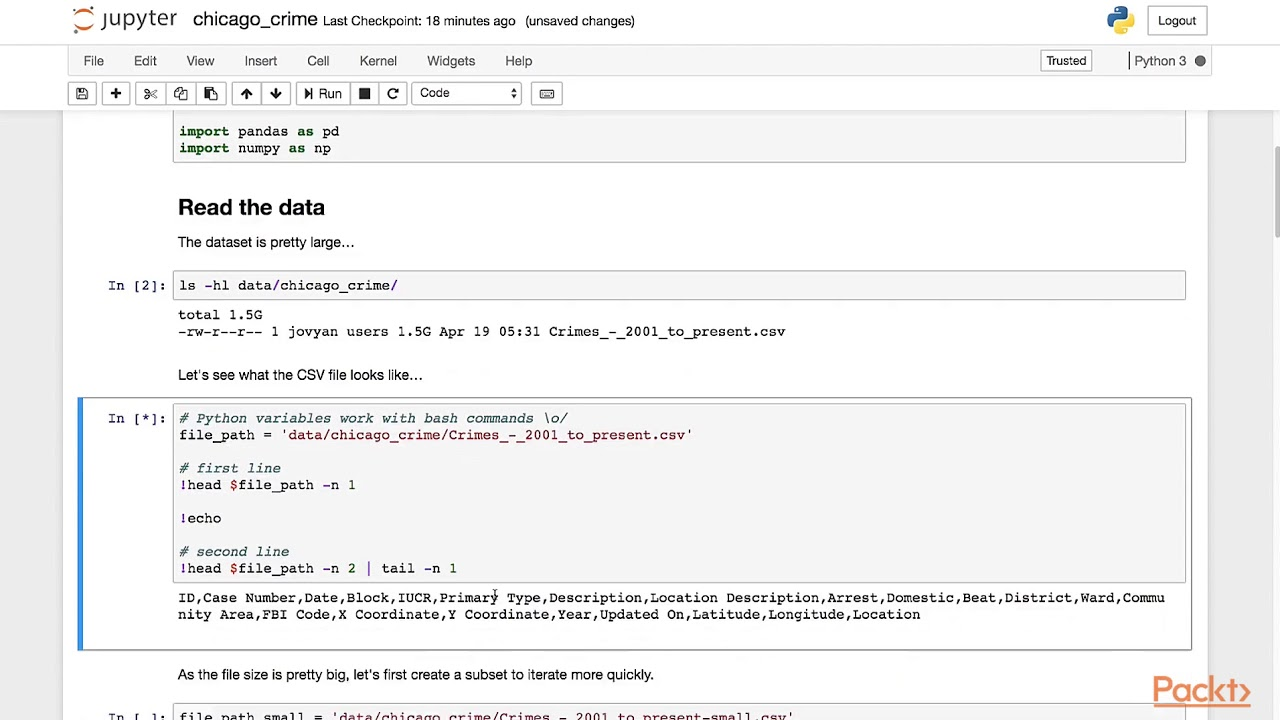 Jupyter Notebook for Data Science: Parsing the Crime Dataset|packtpub com