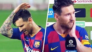 Lionel messi is very angry. as well making a gesture of annoyance after his goal, gave an ultra emotional interview fc barcelona's defe...