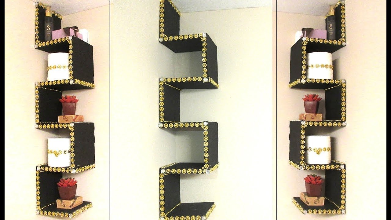 DIY CARDBOARD BATHROOM CORNER SHELF   BEST OUT OF WASTE ... on Corner Sconce Shelf Tray id=46547