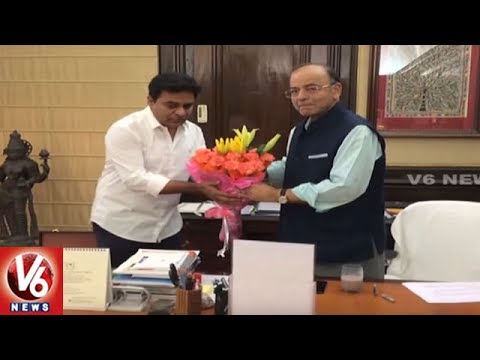 KTR Meets Union Minister Arun Jaitley || Urge To Clear Pending Bills || V6 News