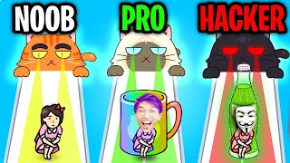 Can We Go NOOB vs PRO vs HACKER In HIDE AND SEEK CAT ESCAPE!? (FUNNY APP GAME!)