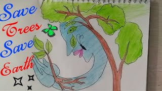 How To Draw Save TREES Coloring Drawing for kids    Save TREES Save Environment    Save Earth   