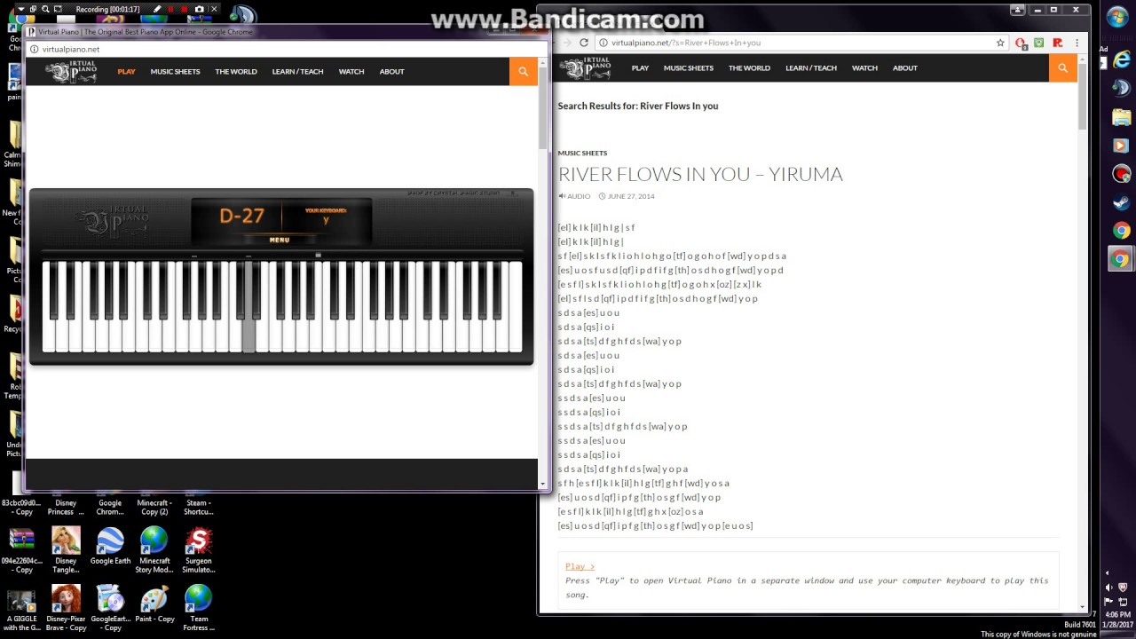 Virtual Piano River Flows In You Youtube