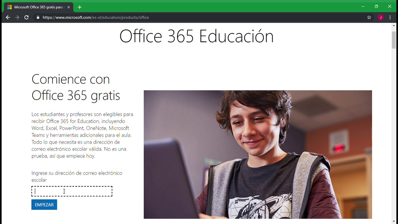 Descargar gratis Office 365 para estudiantes.