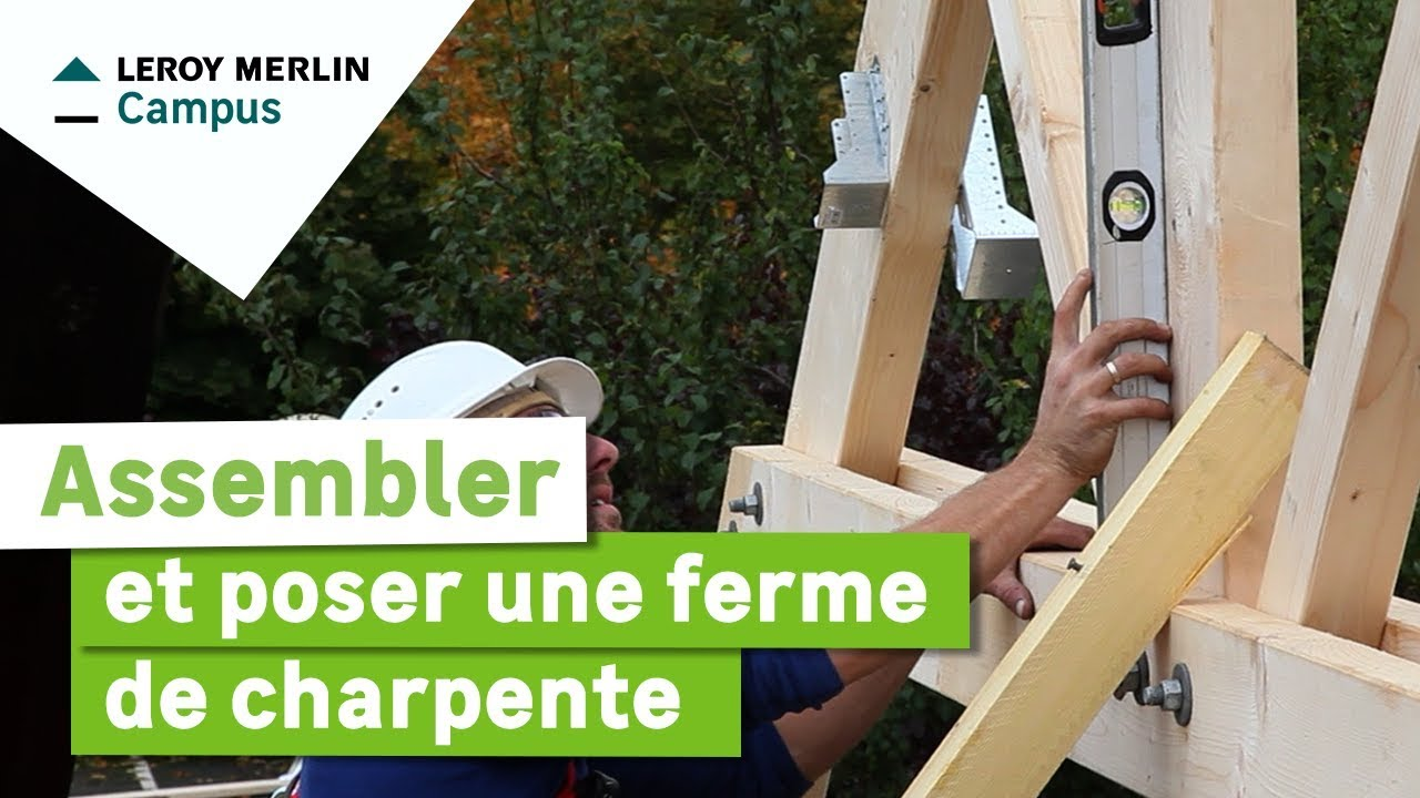 comment assembler et poser une ferme de charpente leroy merlin youtube. Black Bedroom Furniture Sets. Home Design Ideas