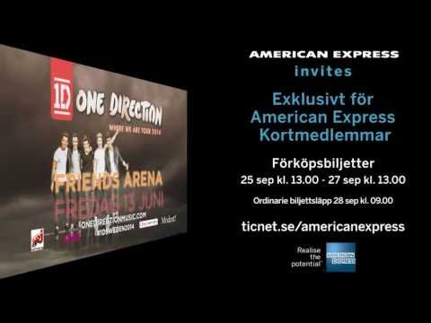 ONE DIRECTION | 13 juni | Friends Arena, Stockholm | American Express Pre-sale