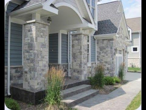 Variasi Dinding Dan Pilar Teras Dari Batu Alam Rumah Moderen