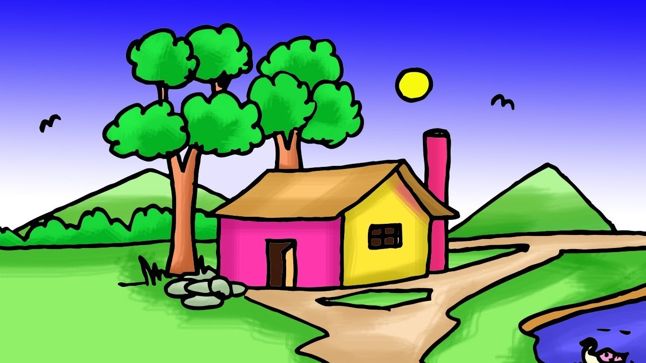 Easy Kids Drawing Tutorial How To Draw Simple Village Scenery Step By Step By Indrajit Art School Youtube