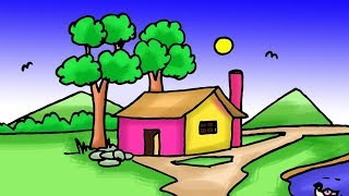 village drawing easy simple scenery tutorial draw step