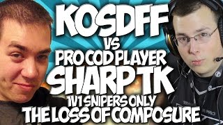 COD GHOSTS: KOSDFF vs PRO PLAYER SHARP TK!!! 1v1 SNIPERS ONLY! THE LOSS OF COMPOSURE!