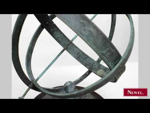 Antique Outdoor patinated bronze armillary globe with the