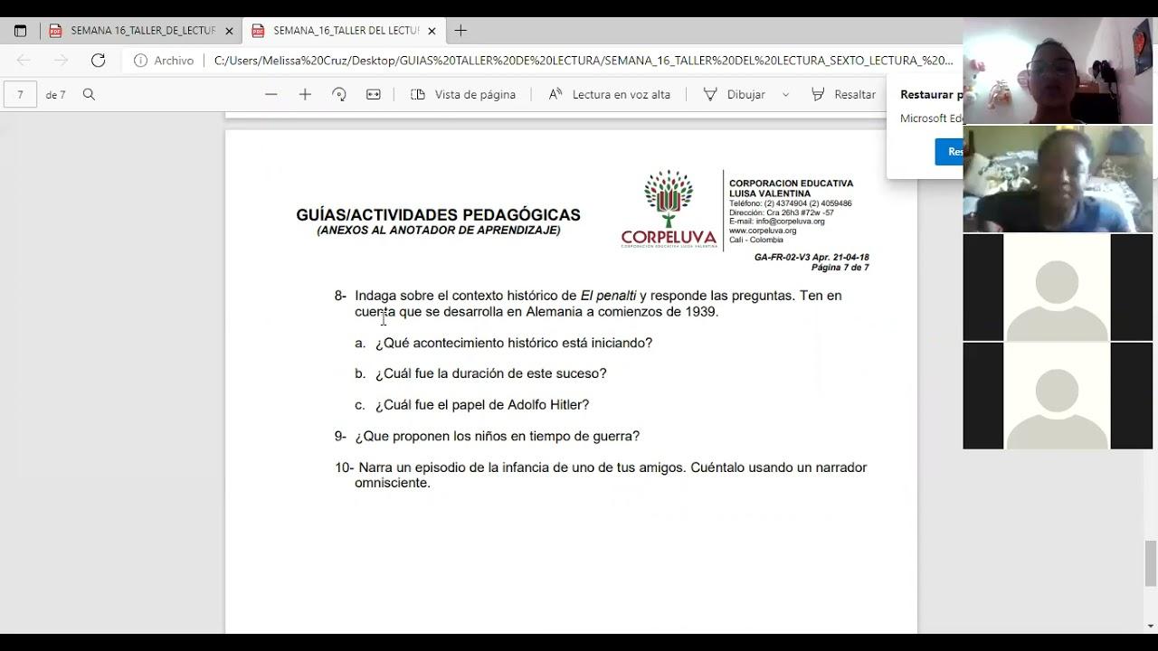 4/06/2021 SEXTO, TALLER DE LECTURA; SEMANA 16: RETROALIMENTACIÓN 3 PARTE.