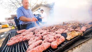 Street Food in Romania for Breakfast!! $1.15 ROMANIAN MICI KEBABS!!