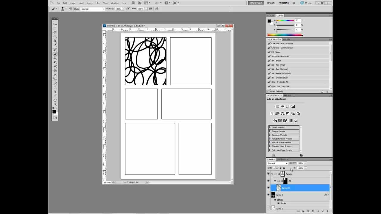 digital comics in adobe photoshop part i setting up panels youtube. Black Bedroom Furniture Sets. Home Design Ideas