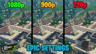 Fortnite - 1080p vs 900p vs 720p - Epic Settings (GTX 1060 6GB + Ryzen 5 2600)