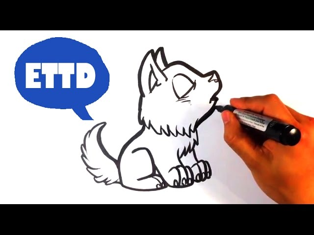 How To Draw A Baby Wolf Howling Cute Easy Pictures To Draw Youtube