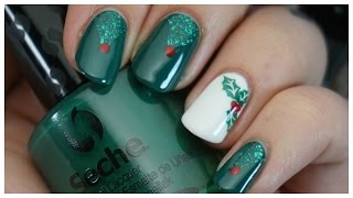 Winter Holly Nail Art Tutorial