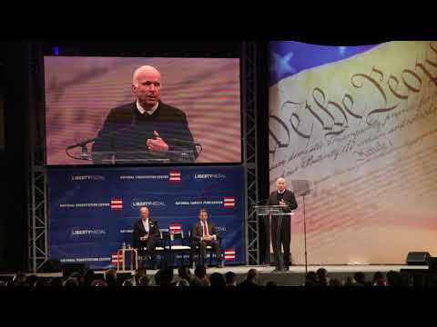 "Senator John McCain warns against ""half-baked, spurious nationalism"" in Liberty Medal speech"