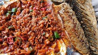 구운 고등어와 오돌뼈 볶음 / Korean Grilled Mackerel and Spicy Pork Cartilage  / 烤鲭鱼 /Korean Street Food