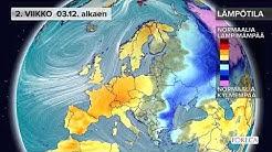Kuukausiennuste lämpötiloista 27.11.2018