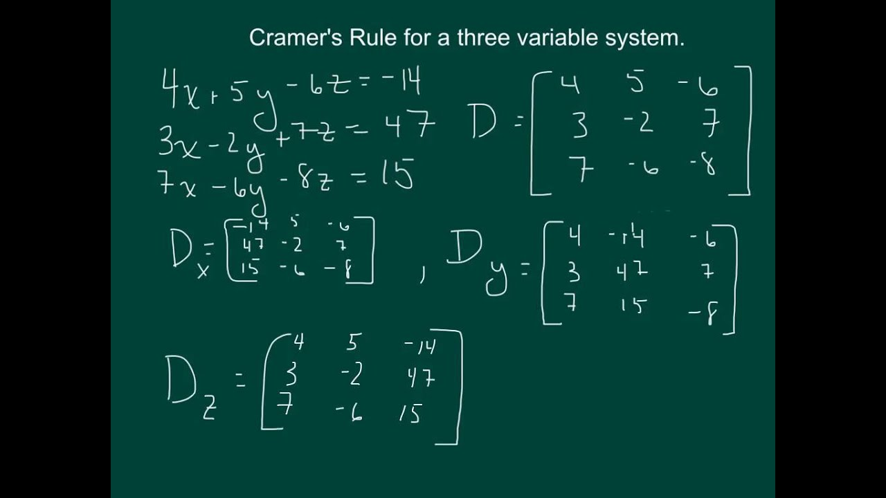 Solving Systems Of Two Equations W Cramer S Rule Answers