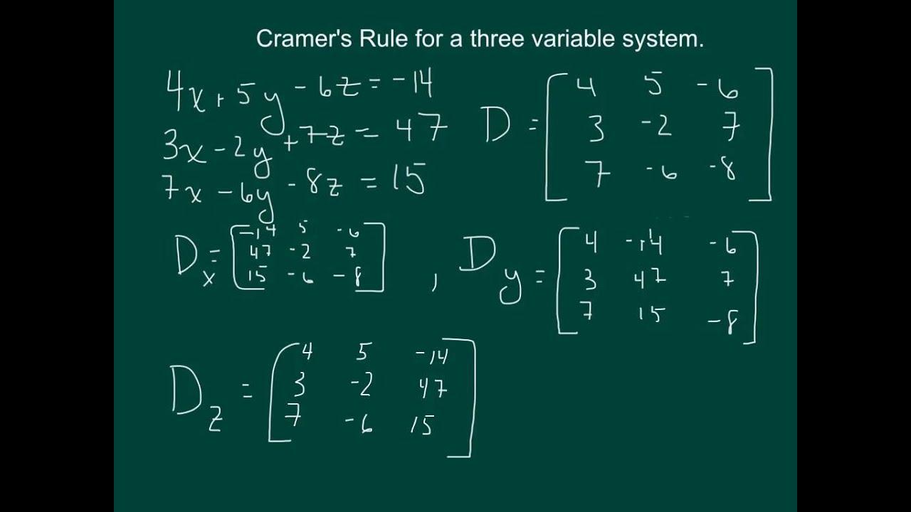 cramer 39 s rule for a 3 variable system youtube. Black Bedroom Furniture Sets. Home Design Ideas