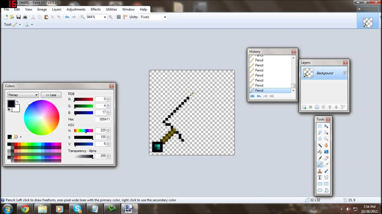 [Timelapse] Making a 32x32 Diamond Sword Texture Minecraft ...