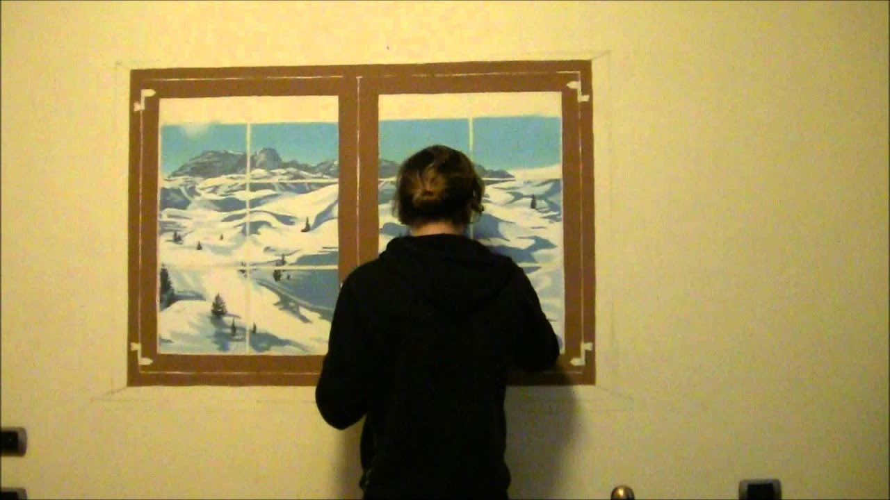Il vasary draw a window on the wall - YouTube