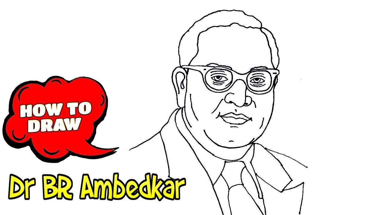 Download Ambedkar drawing: How to draw Dr BR Ambedkar photo | Easy drawing with pen