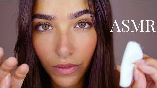 ASMR Massaging Your Face (Lotion sounds, Face tapping, Face brushing, Cottons)