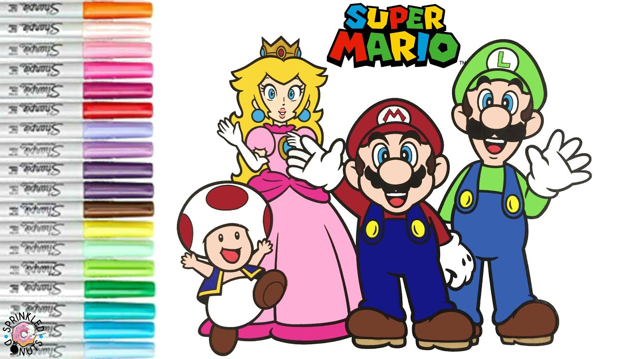 Super Mario Bros Coloring Book Page Mario Luigi Toad Princess Peach And Princess Daisy Youtube