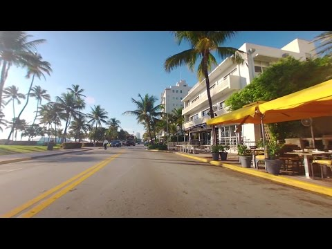 Drive Along Ocean Drive, South Beach Miami On A Beautiful Day