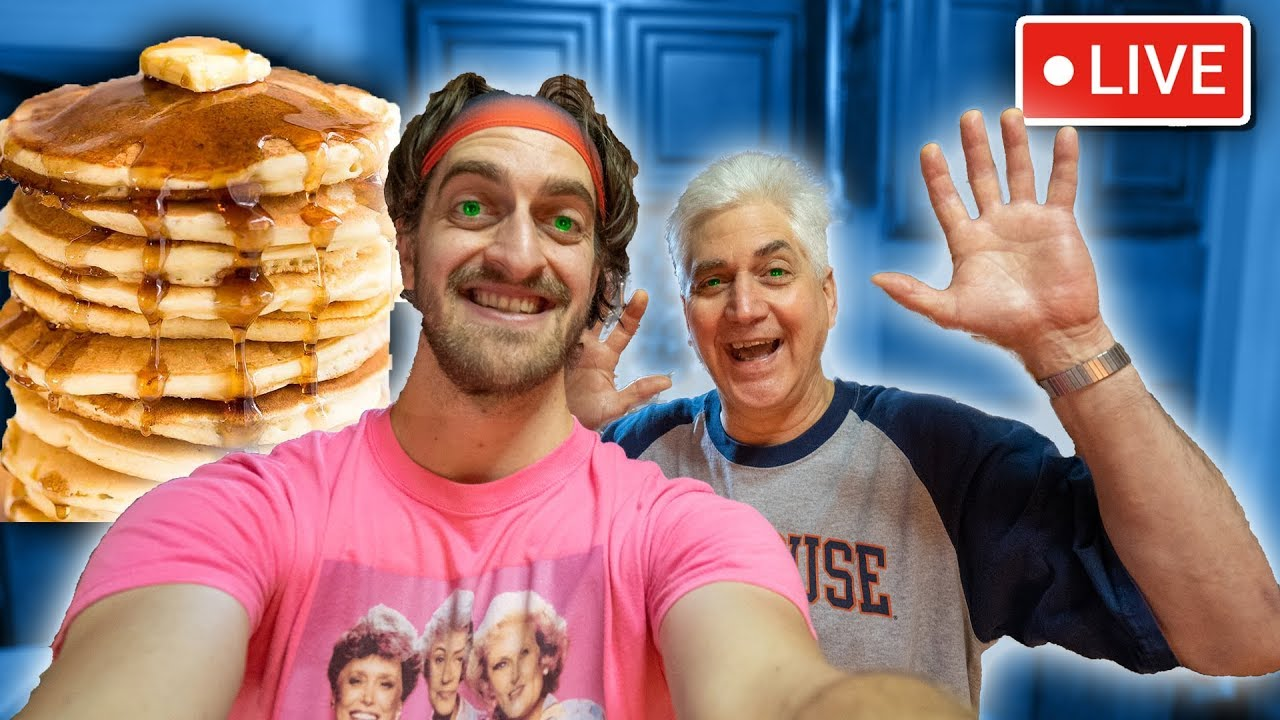 Make VEGAN Pancakes With Me & My Dad Live!