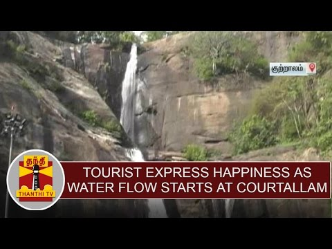 Tourist express happiness as water flow starts at Courtallam | Thanthi TV