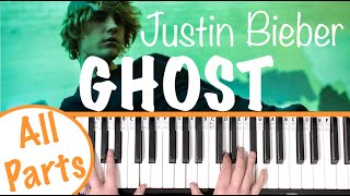How to play GHOST - Justin Bieber Piano Tutorial