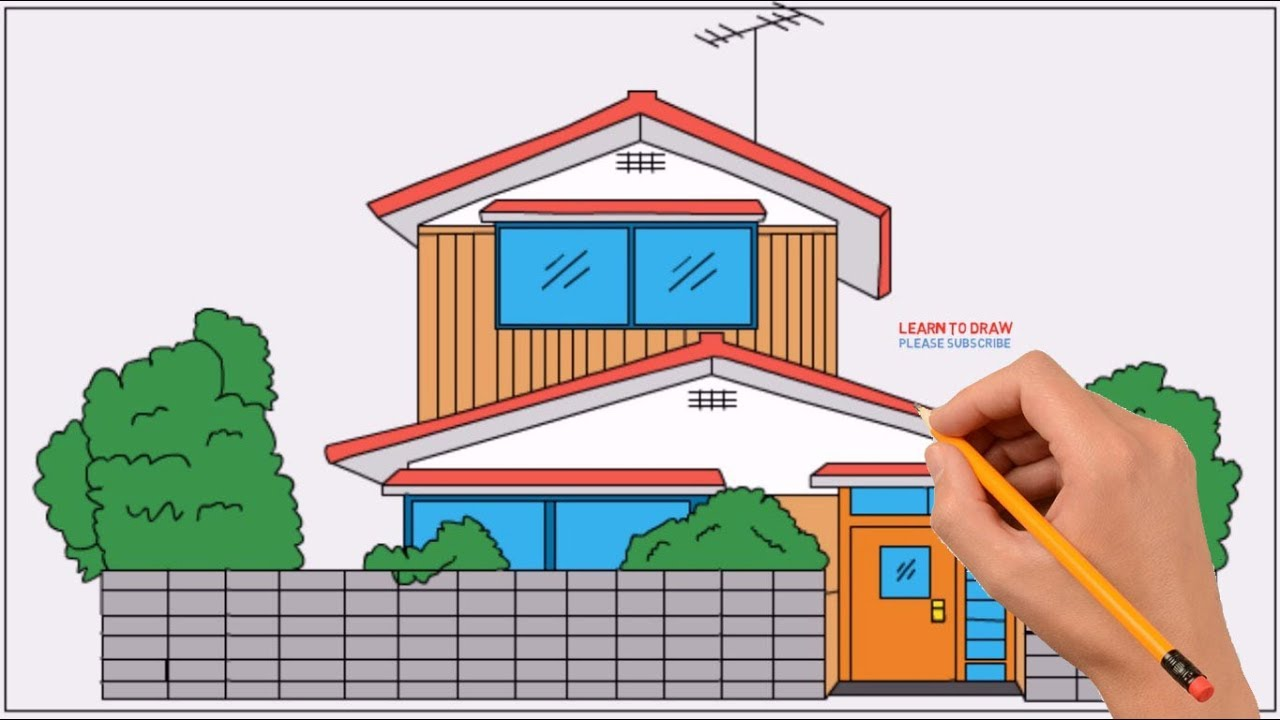 How To Draw Nobita S House Doraemon Step By Step Easy Coloring
