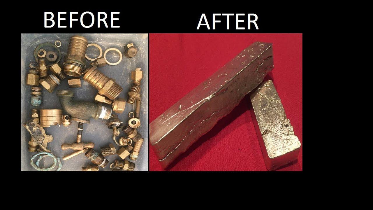 Melting Brass Scrap Into Ingots Another Full Melt Metal